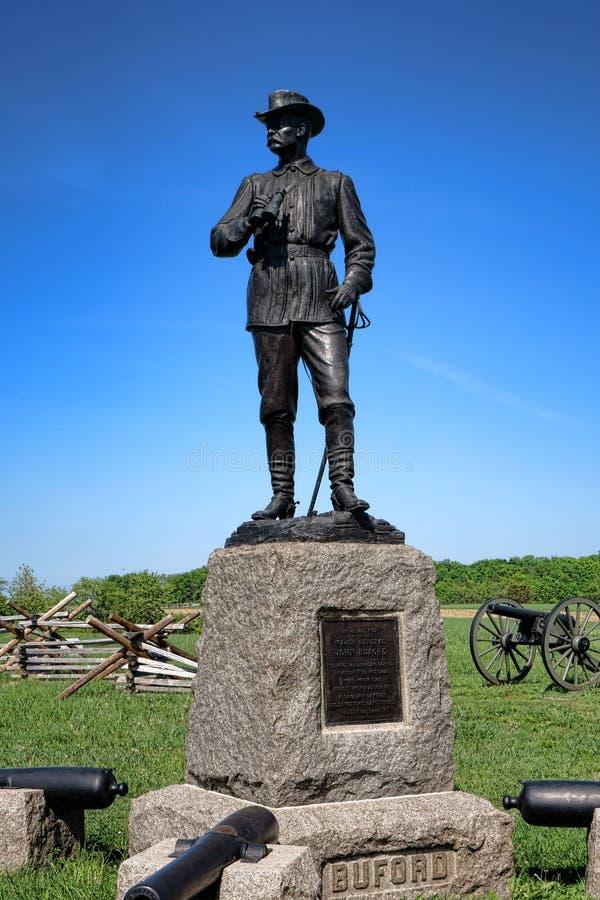 葛底斯堡国家公园少将约翰・比福德纪念品 库存照片