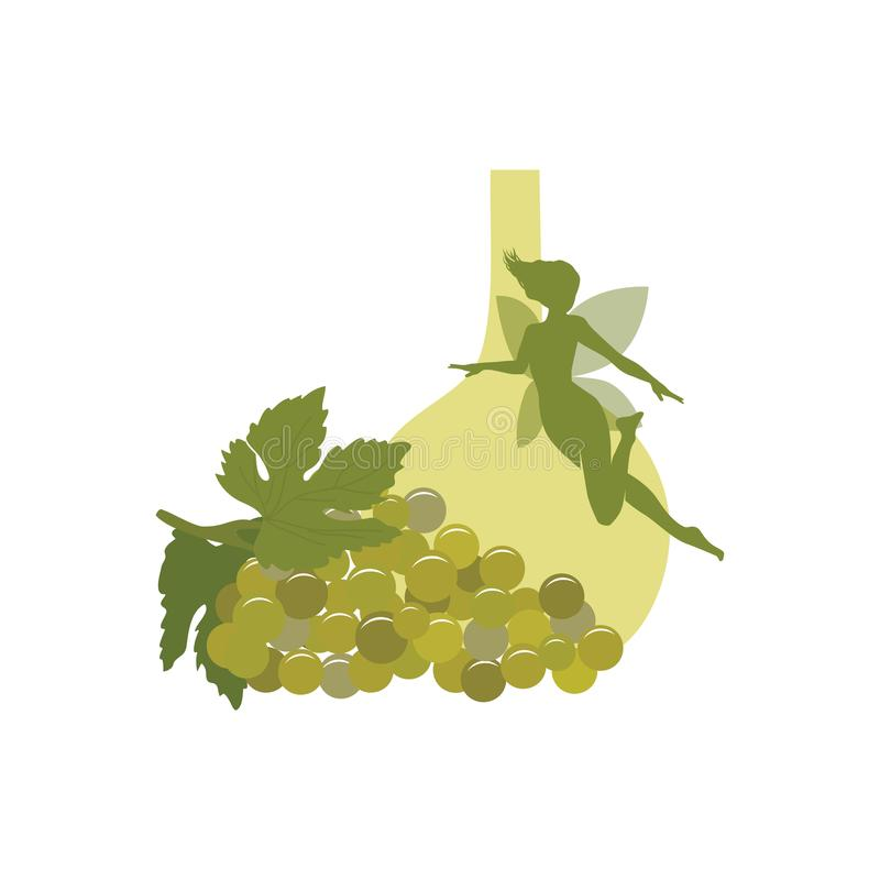 葡萄、酒和绿色神仙 向量例证