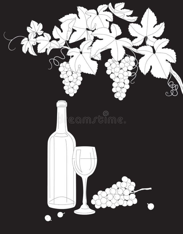 葡萄、玻璃和瓶黑白概述分支wi 皇族释放例证