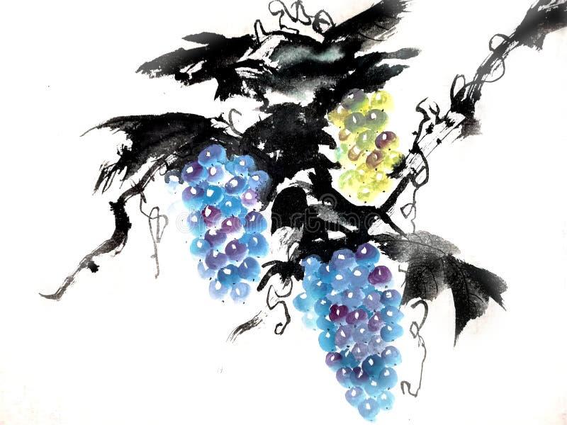 葡萄中国或日本墨水绘画  库存例证