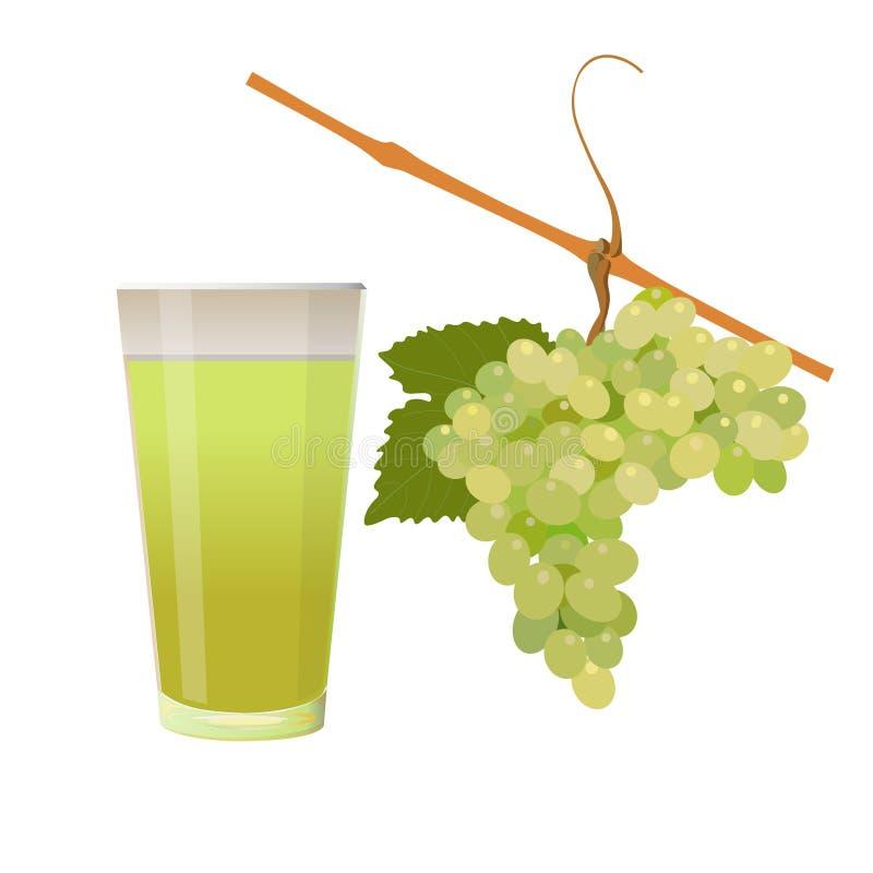 葡萄和杯汁液 向量例证