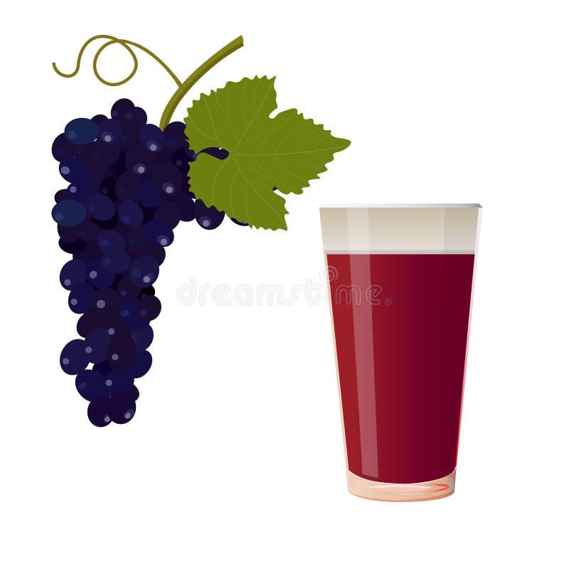 葡萄和杯汁液 皇族释放例证