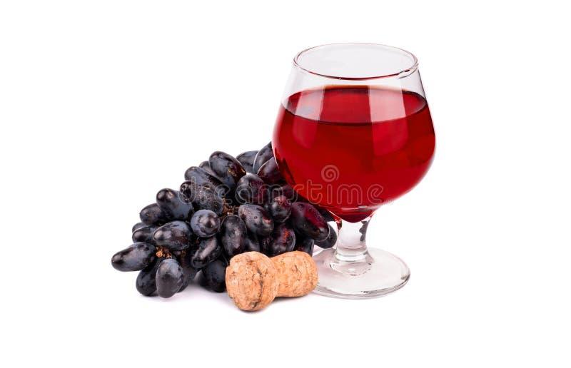 黑葡萄和酒 免版税图库摄影