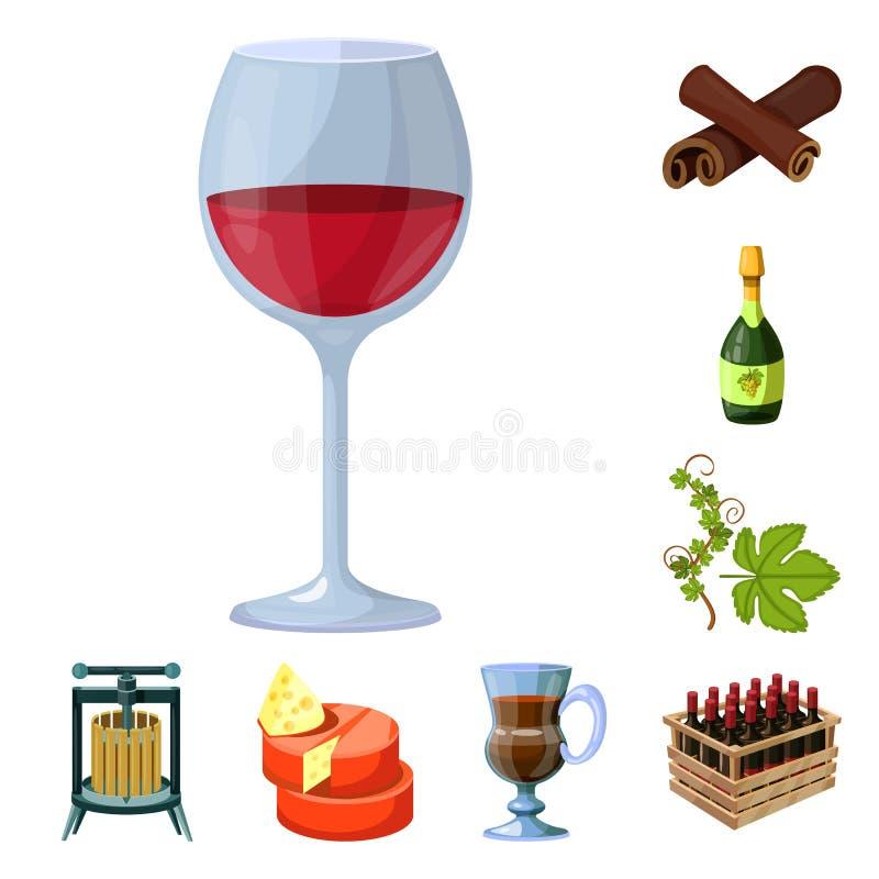 葡萄和酿酒厂象被隔绝的对象  葡萄和制造的股票简名的汇集网的 向量例证