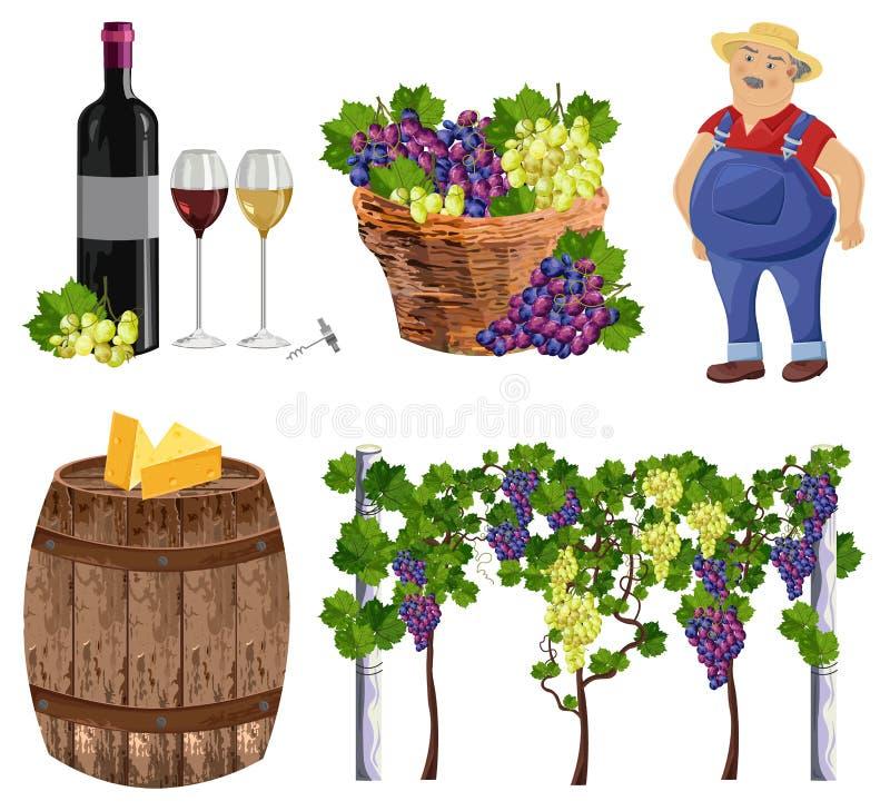 葡萄园集合汇集农夫,瓶,玻璃,桶传染媒介 向量例证