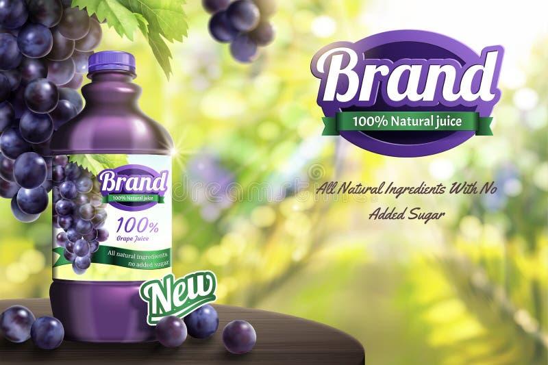 葡萄在木桌上的被装瓶的汁液 向量例证