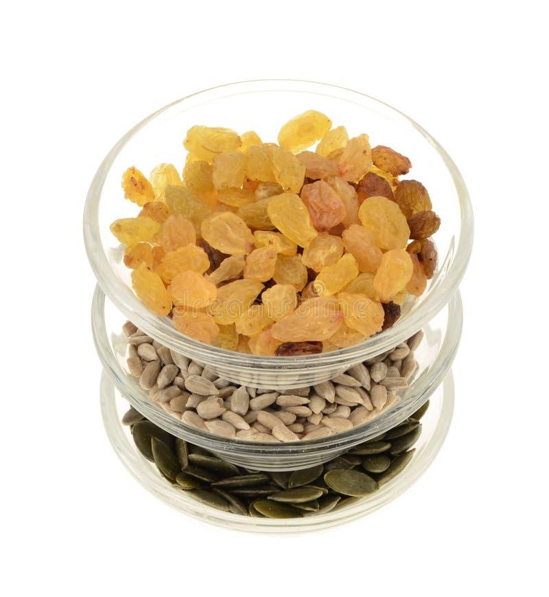 葡萄干,南瓜籽,向日葵种子 免版税库存图片
