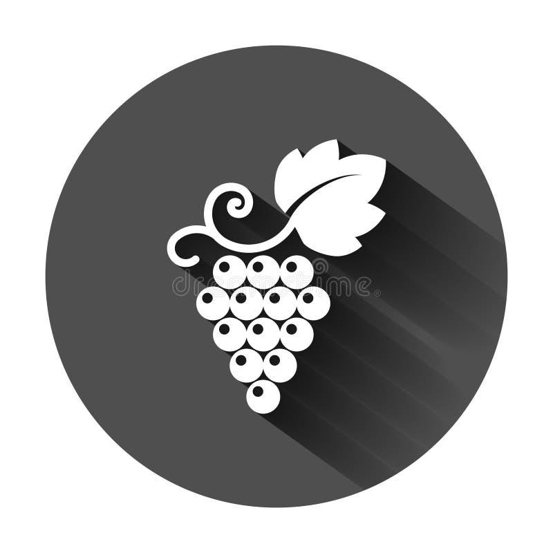 葡萄果子签署在平的样式的象 葡萄树在黑圆的背景的传染媒介例证与长的阴影 葡萄酒 皇族释放例证