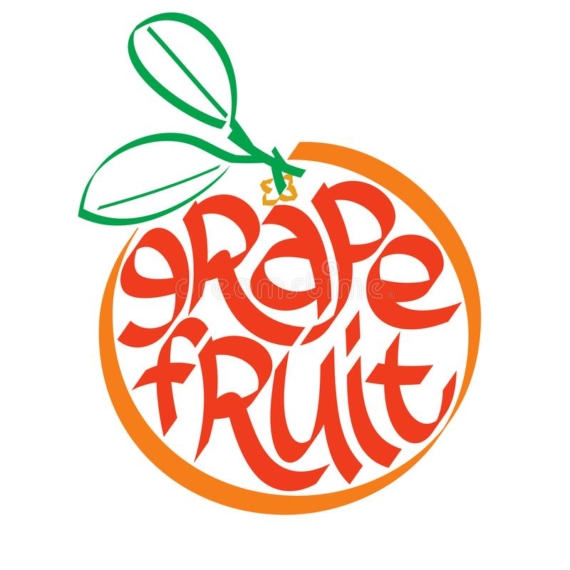 葡萄柚书法,印刷术 果子印刷术 皇族释放例证