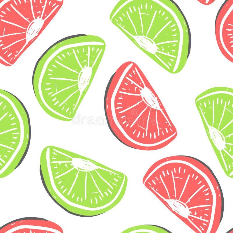葡萄柚和异乎寻常的果子无缝的样式 新鲜的绿色和红色葡萄柚热带水果夏天戒毒所 皇族释放例证