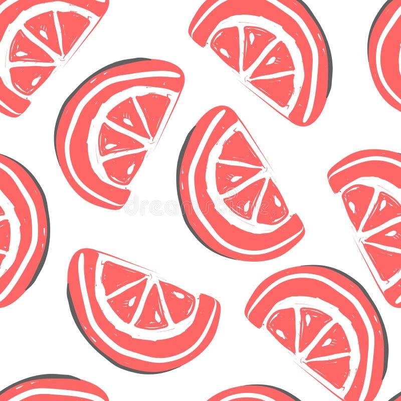 葡萄柚和异乎寻常的果子无缝的样式 新鲜的葡萄柚热带水果夏天戒毒所 库存例证