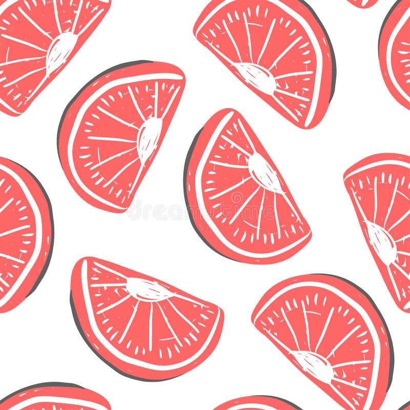 葡萄柚和异乎寻常的果子无缝的样式 新鲜的葡萄柚热带水果夏天戒毒所 皇族释放例证