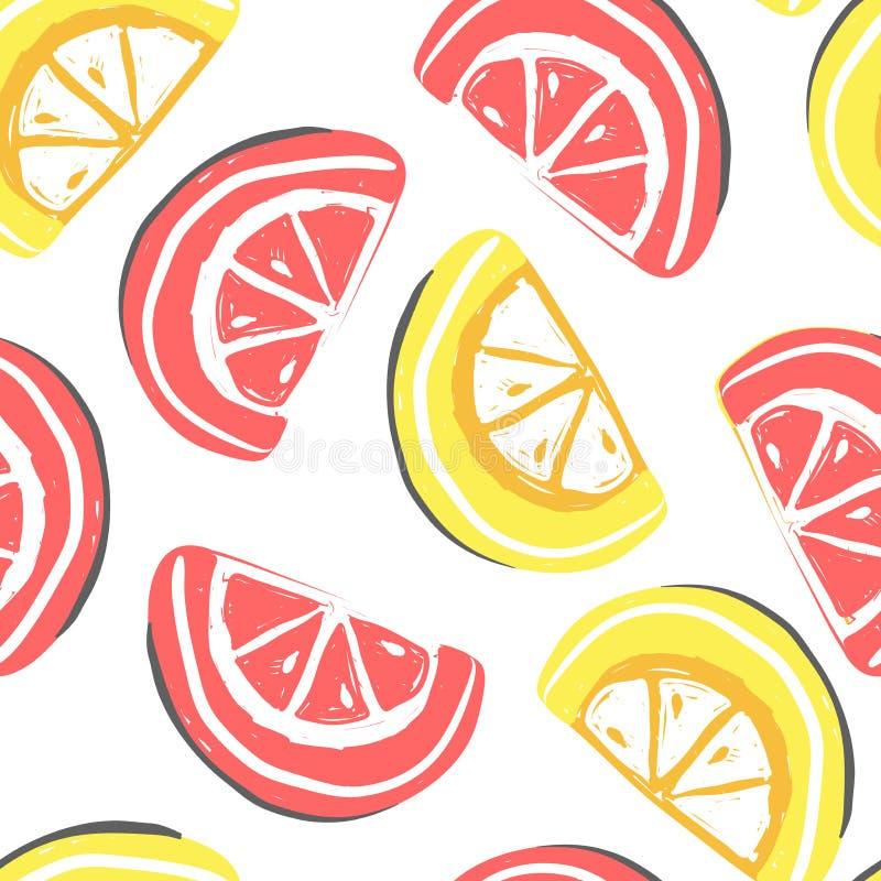 葡萄柚和柠檬果子无缝的样式 新鲜的葡萄柚和石灰,热带水果夏天戒毒所 库存例证