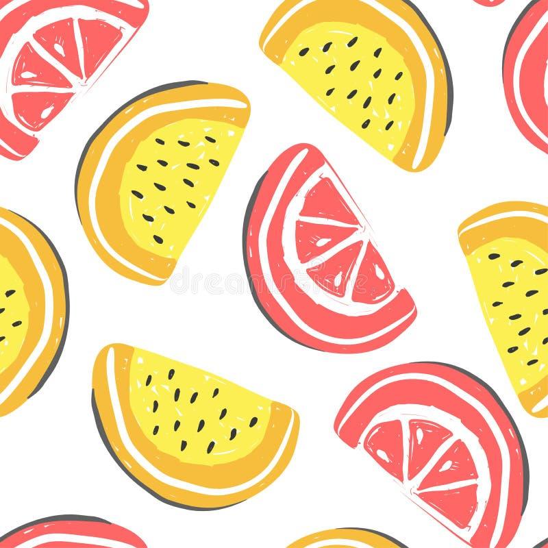 葡萄柚和西瓜异乎寻常的果子无缝的样式 新鲜的瓜和葡萄柚,热带水果夏天戒毒所 向量例证