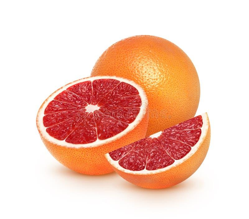 葡萄柚在与裁减路线的白色背景隔绝的柑桔 免版税图库摄影