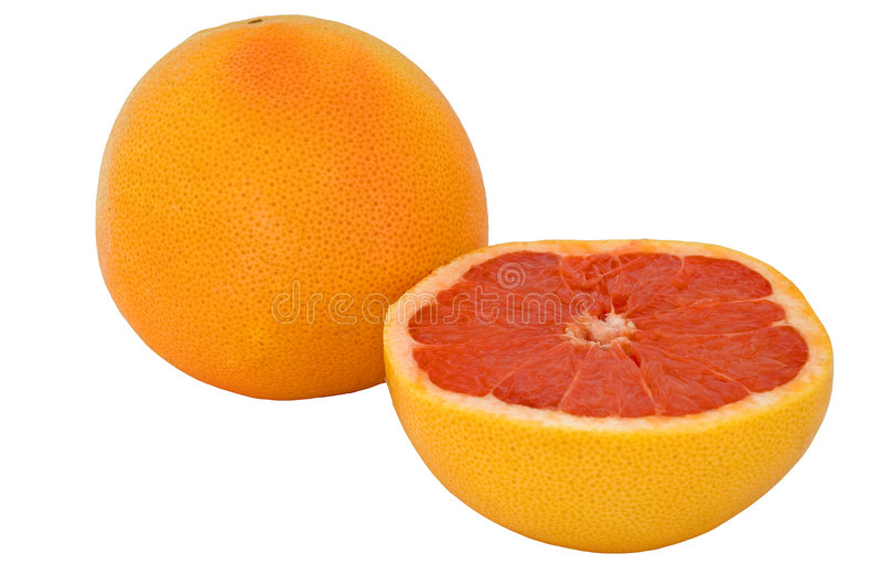 葡萄柚对分桃红色全部 库存图片