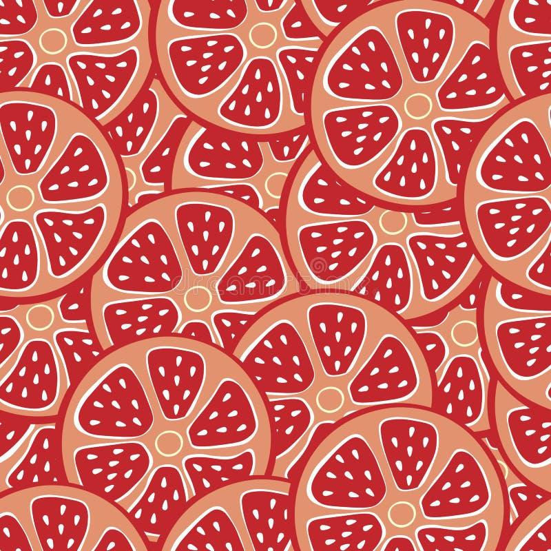 葡萄柚无缝的背景 设计的无缝的模式 新红色葡萄柚切片 向量例证