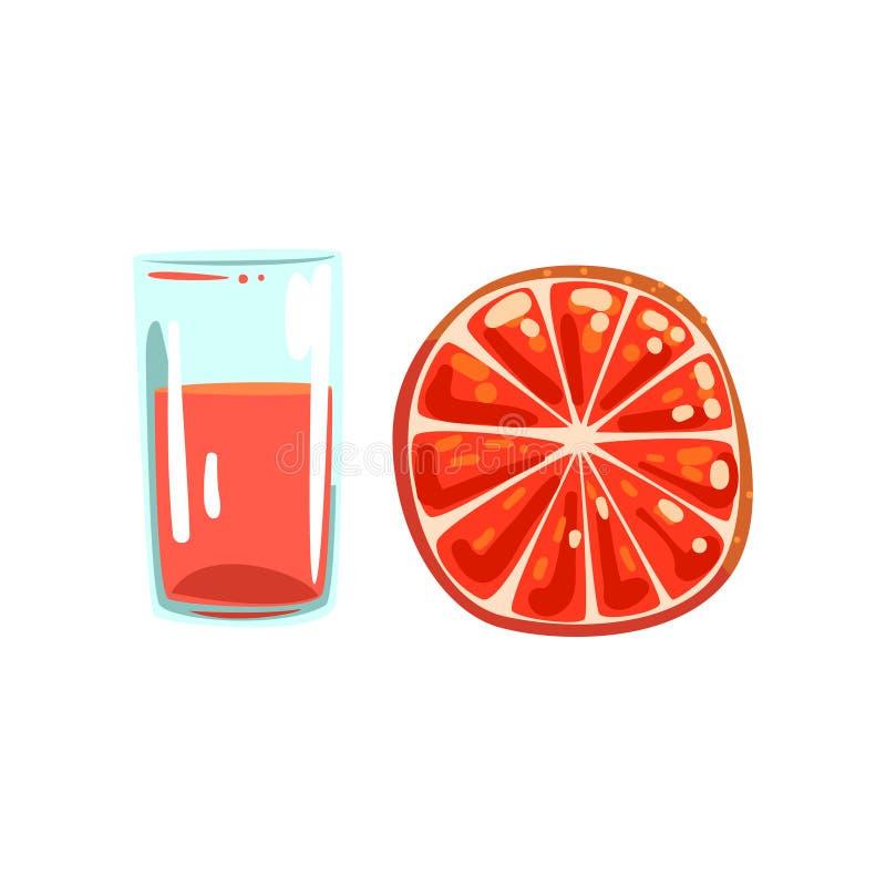 葡萄柚果汁,杯自然素食饮料,在白色的健康有机食品传染媒介例证 向量例证