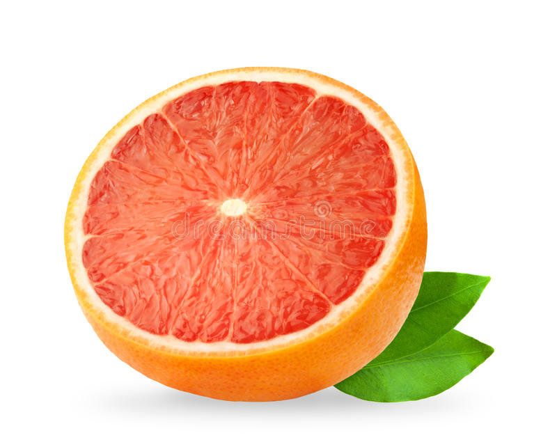 葡萄柚查出 在白色背景隔绝的葡萄柚,与裁减路线 免版税库存图片