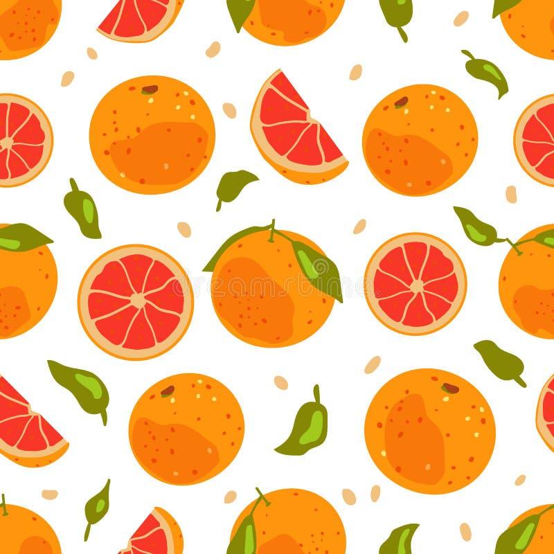 葡萄柚热带水果无缝的样式 库存例证