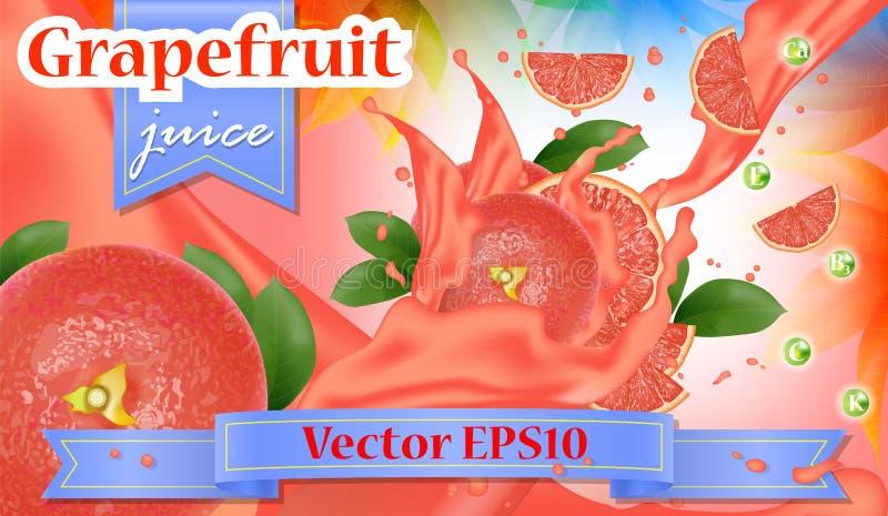 葡萄柚红色桃红色汁广告 飞溅被切的水多 向量例证