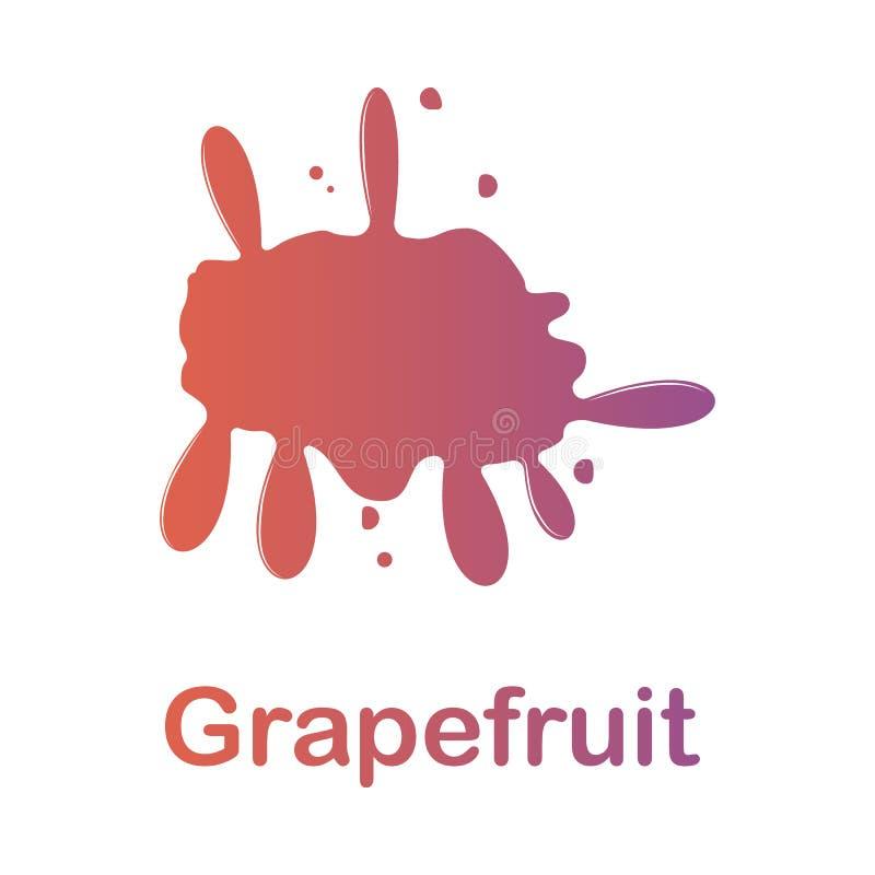 葡萄柚飞溅例证 色的飞溅的元素流动概念和网apps的 详细的葡萄柚例证可以是 库存例证