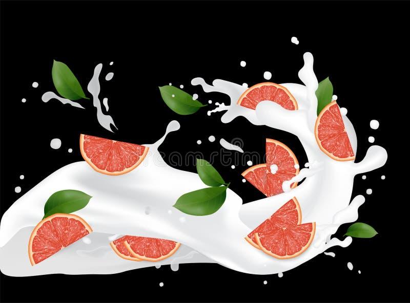葡萄柚飞溅例证 飞溅牛奶汁 鸡尾酒f 库存例证
