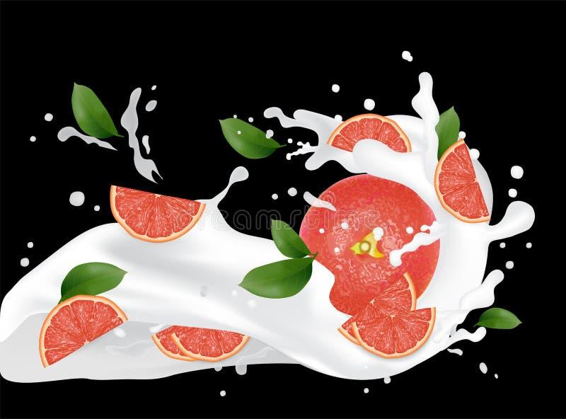 葡萄柚飞溅例证 飞溅牛奶汁 鸡尾酒f 向量例证