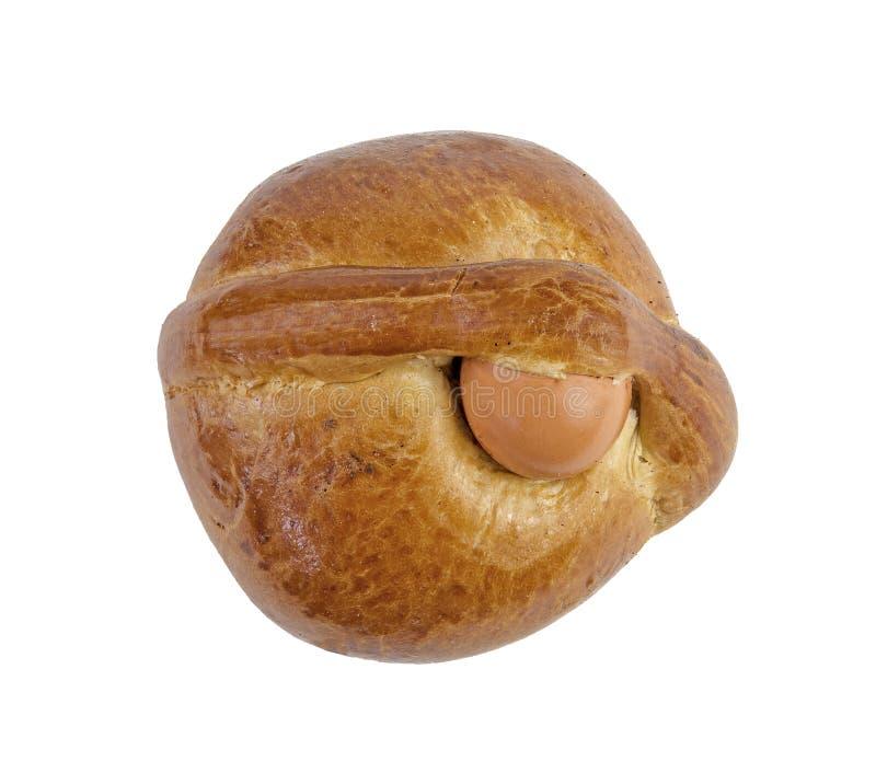 葡萄牙人在白色背景的复活节面包 免版税库存照片