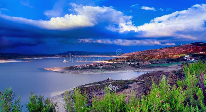 葡萄牙北部黄昏风景 免版税图库摄影