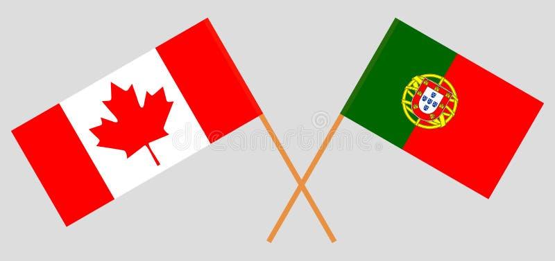 葡萄牙和加拿大 葡萄牙和加拿大旗子 E r ?? 皇族释放例证