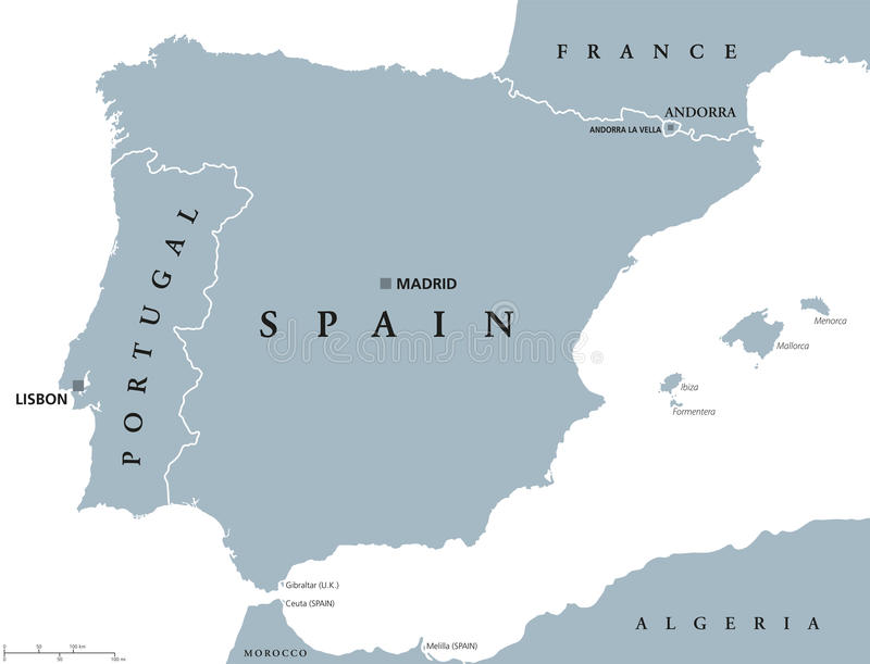 葡萄牙和西班牙政治地图 皇族释放例证