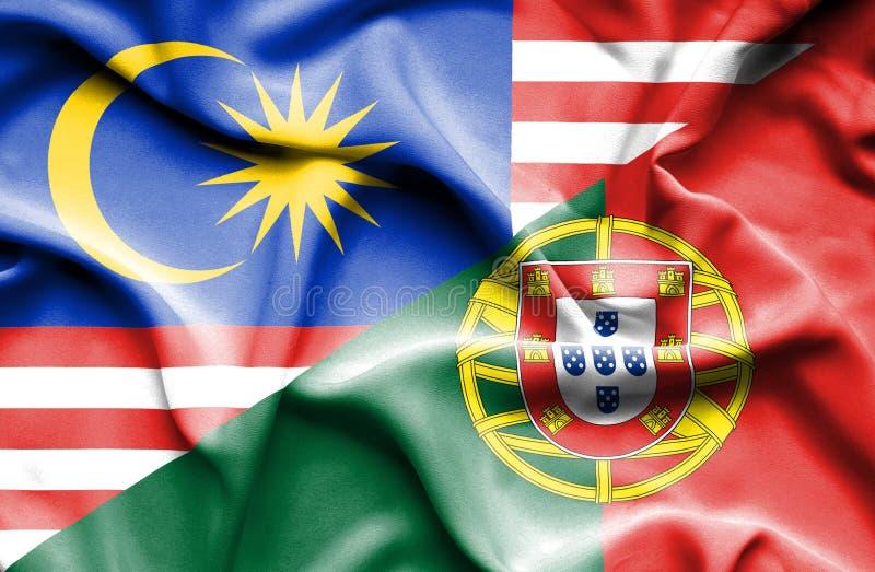 葡萄牙和马来西亚的挥动的旗子 库存例证