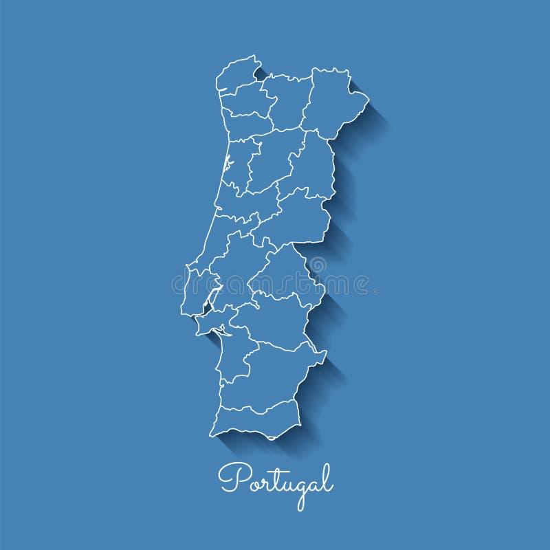 葡萄牙地区地图:与白色概述的蓝色和 皇族释放例证