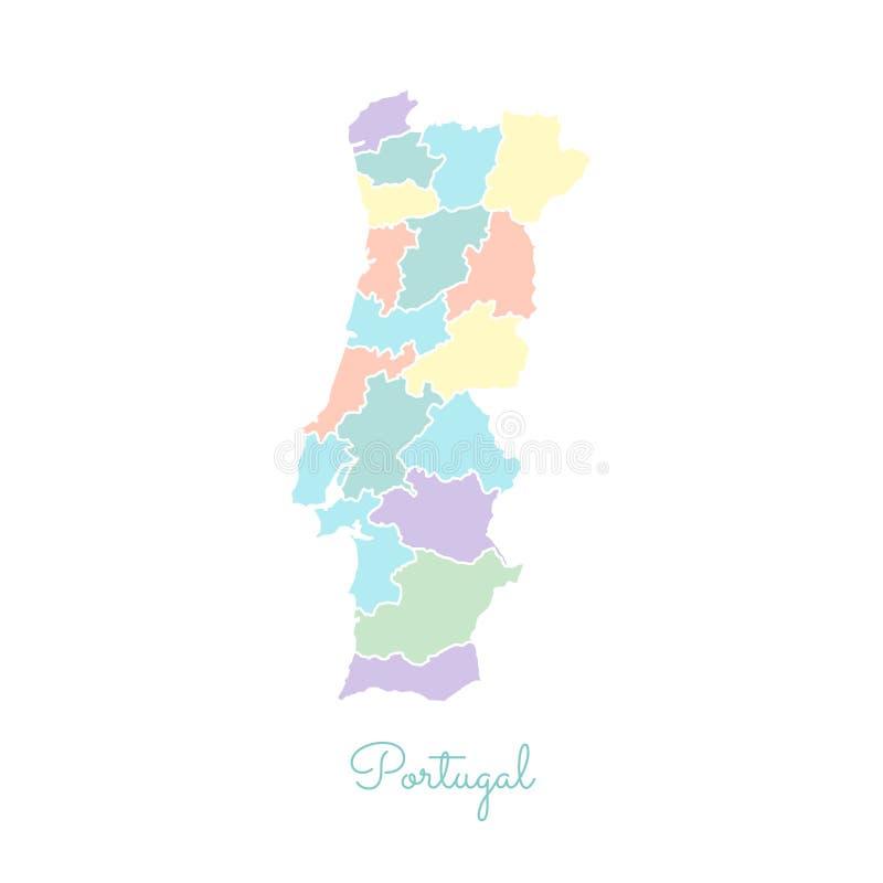 葡萄牙地区地图:五颜六色与白色概述 库存例证