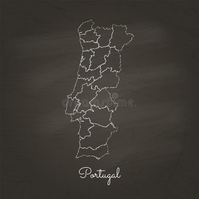 葡萄牙地区地图:手拉与白色白垩 皇族释放例证