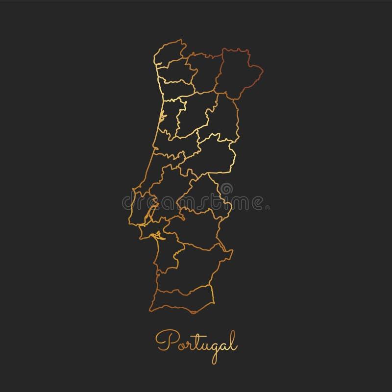葡萄牙地区地图:金黄梯度概述 皇族释放例证