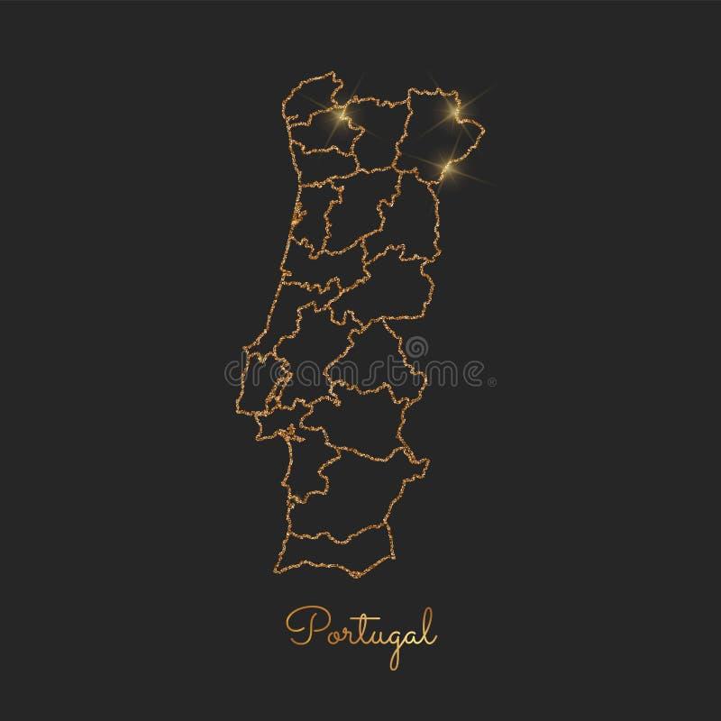 葡萄牙地区地图:金黄闪烁概述与 皇族释放例证