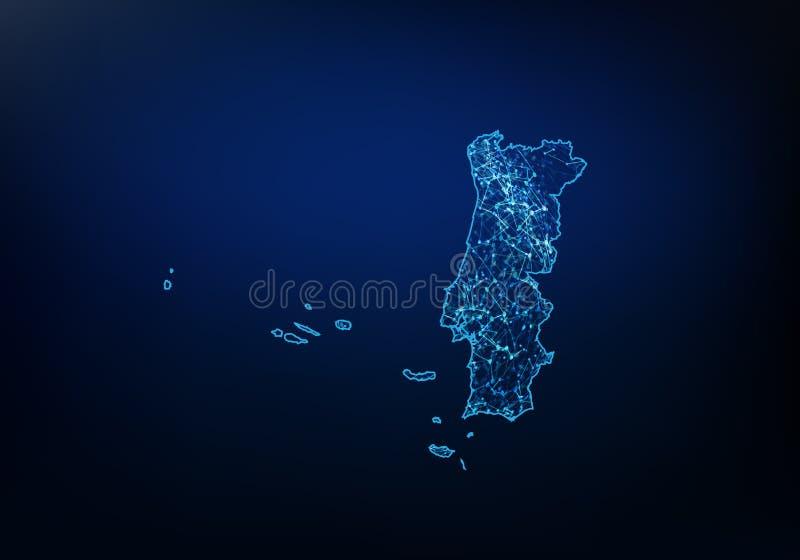 葡萄牙地图网络、互联网和全球性连接概念,导线框架3D滤网多角形网络线,设计球形摘要  库存例证