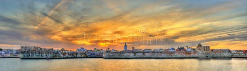 葡萄牙市的全景ElJadidia的Mazagan,摩洛哥 库存图片