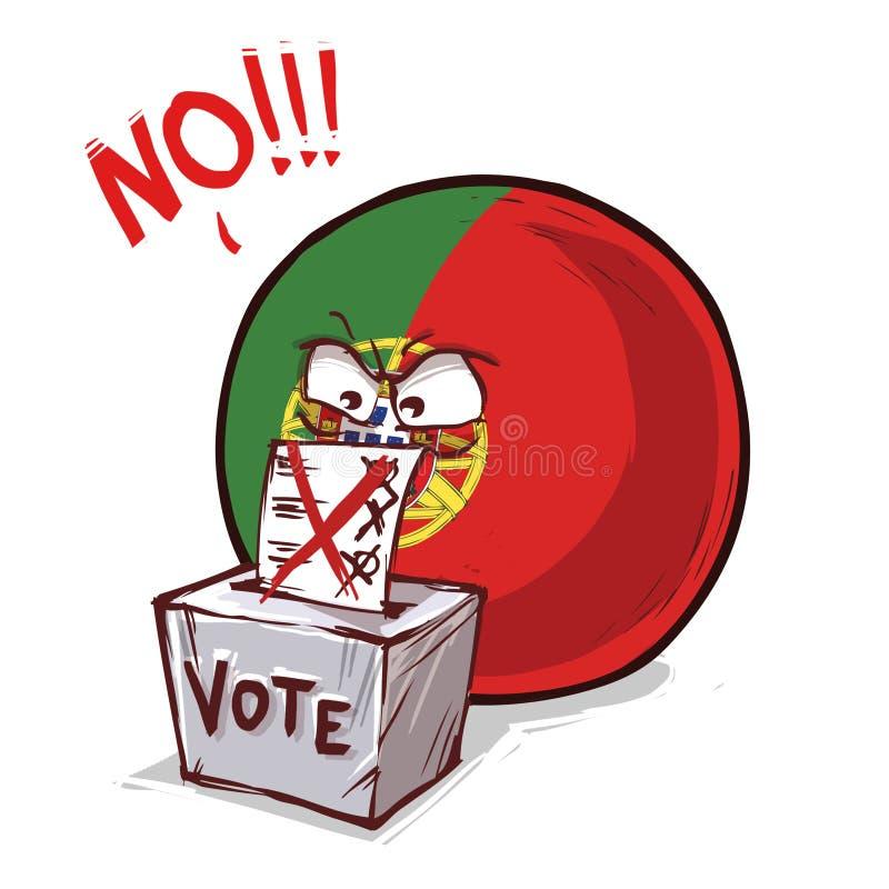 葡萄牙投反对票国家的球 库存例证