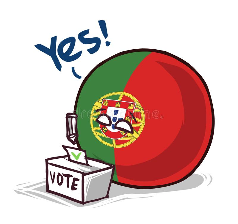 葡萄牙投赞成票国家的球 向量例证