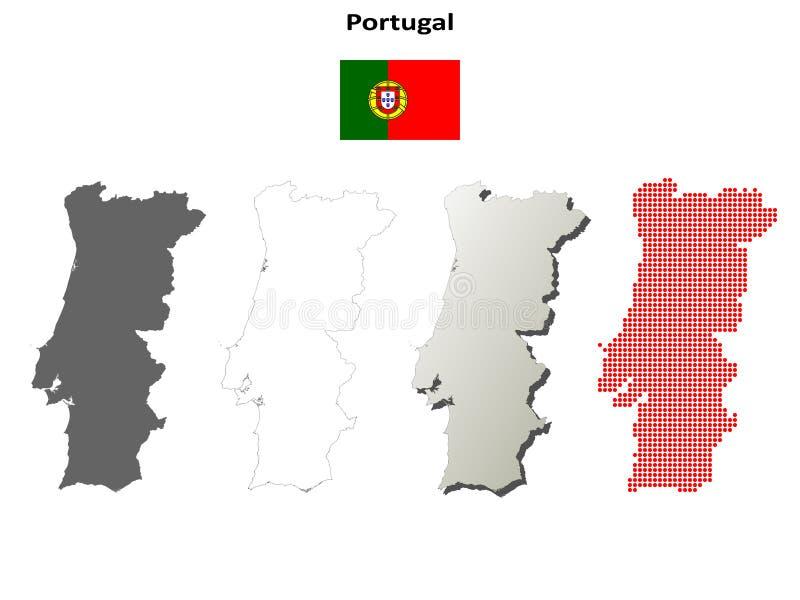 葡萄牙概述地图集合 库存例证