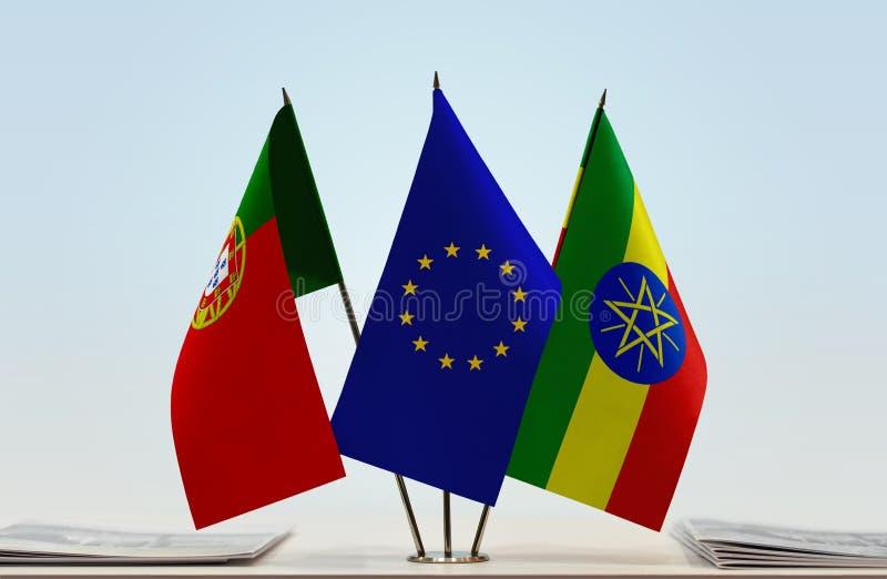 葡萄牙欧盟和埃塞俄比亚的旗子 向量例证