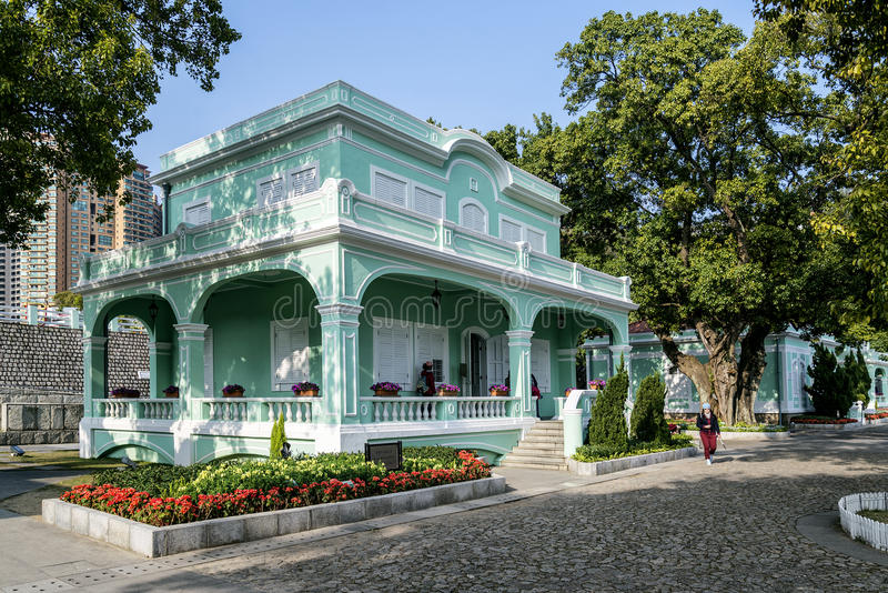 葡萄牙殖民地豪宅在澳门澳门瓷taipa区域  免版税库存图片