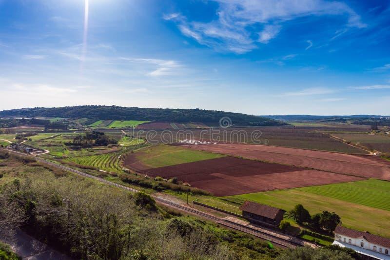 葡萄牙的与绿色农村领域的乡下风景 库存照片