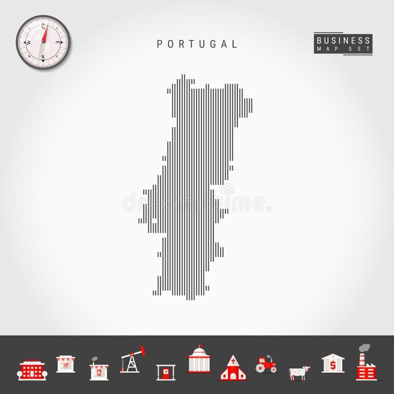葡萄牙的传染媒介垂直线地图 葡萄牙的镶边剪影 现实指南针 r 向量例证