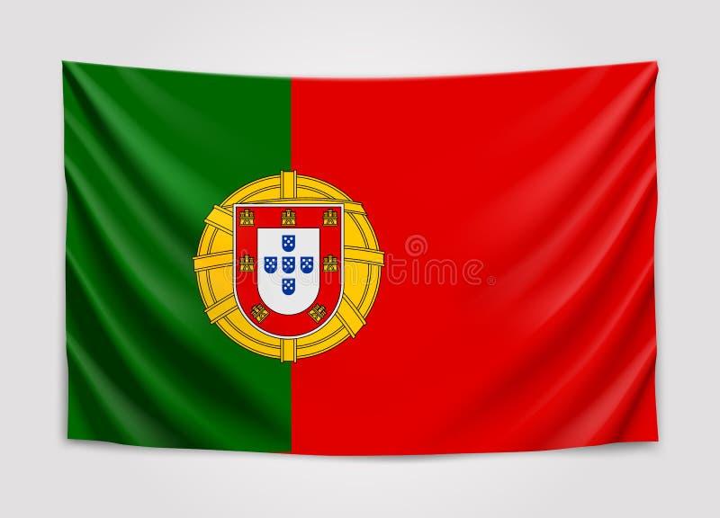 葡萄牙的垂悬的旗子 葡萄牙共和国 国旗概念 库存例证