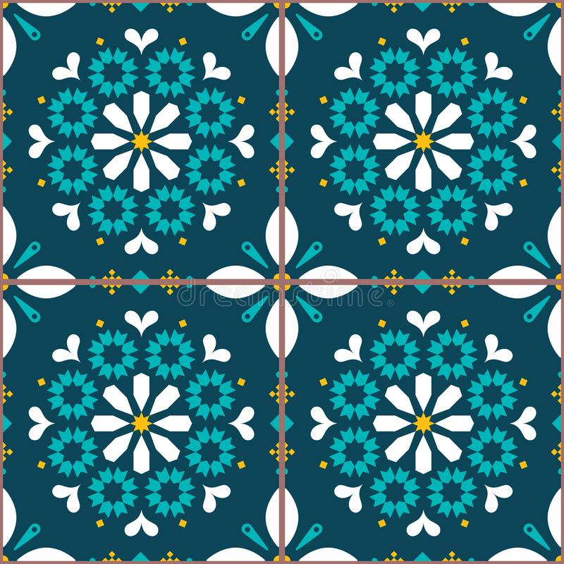 葡萄牙艺术启发的传染媒介瓦片无缝的样式,里斯本Azulejo样式瓦片背景 库存例证