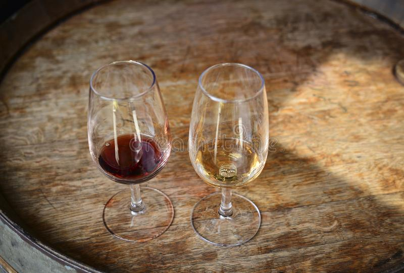 葡萄牙葡萄酒品尝在品尝室 免版税库存图片